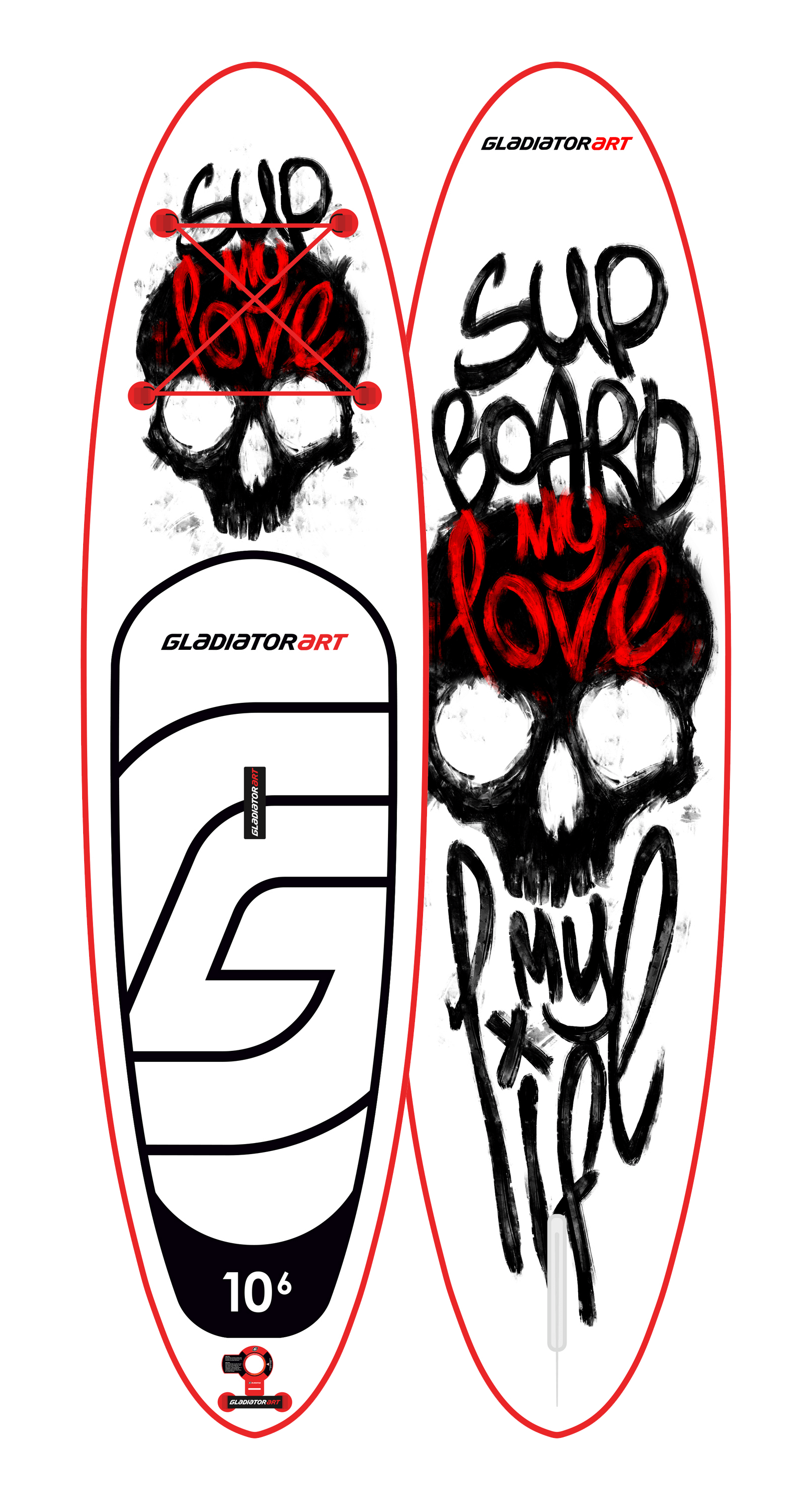 Надувной SUP борд GLADIATOR ART my love 10,6