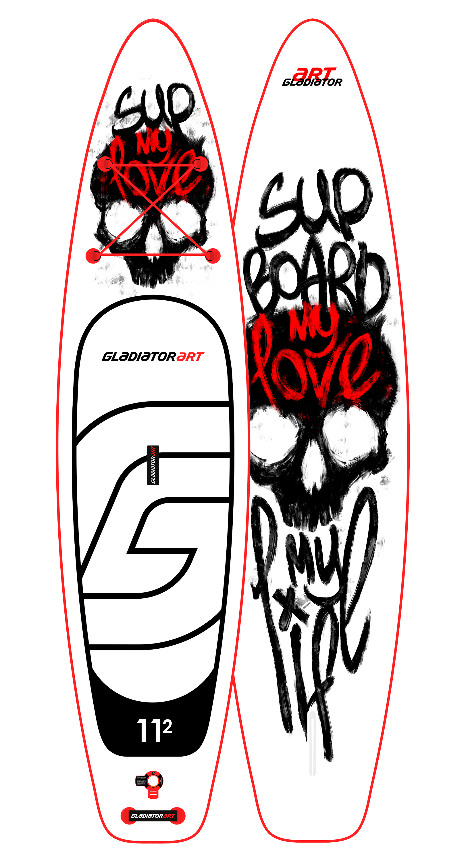 Надувной SUP борд GLADIATOR ART my love 11.2