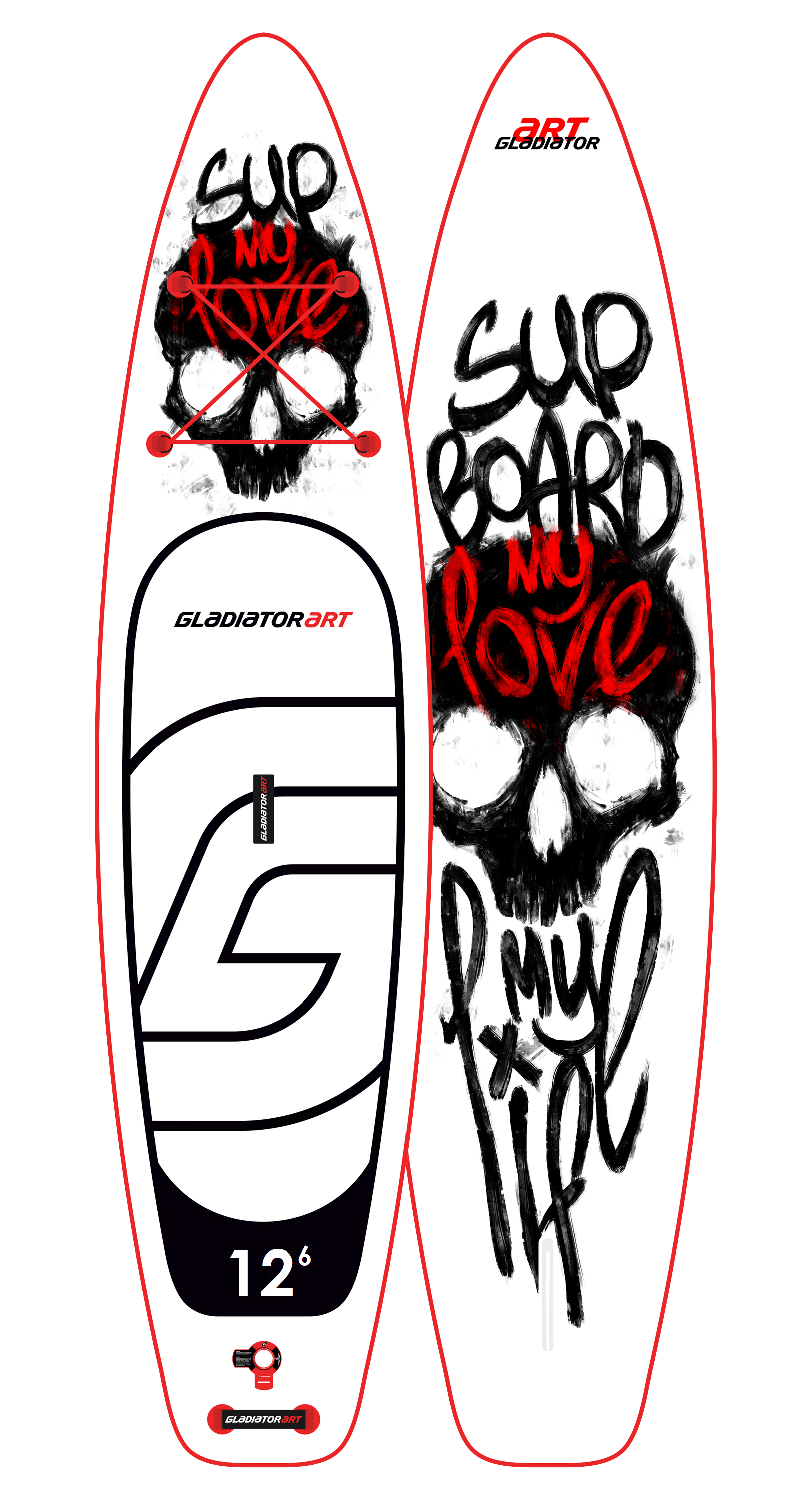 Надувной SUP борд GLADIATOR ART my love 12.6